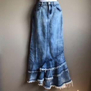 boho steampunk denim mermaid skirt, size L